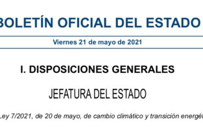 Se aprueba la Nueva Ley de Cambio Climático en España